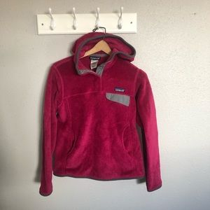 Patagonia synchilla hood in pink with gray trim